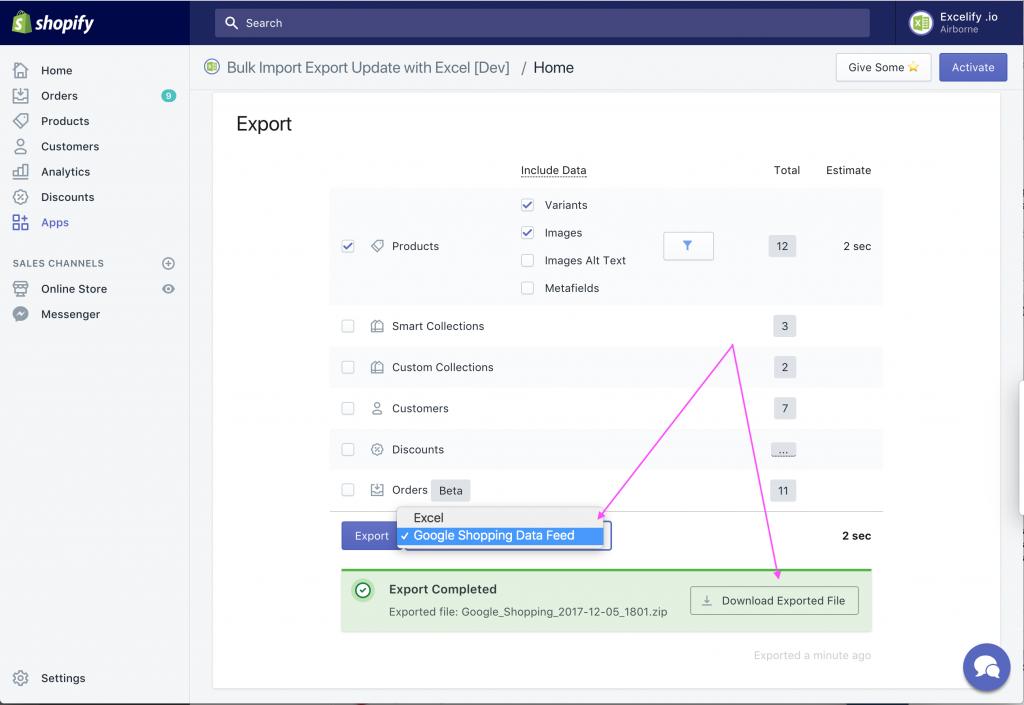 Export as Google Shopping Data Feed