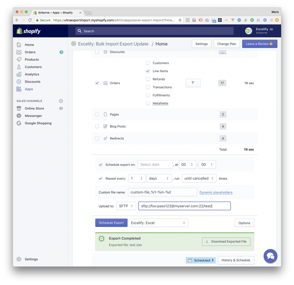 Export from Shopify to SFTP - Options
