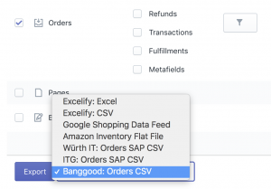 Export to Banggood Orders CSV