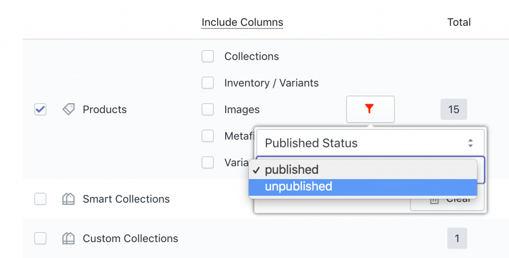 Filter Shopify Products by Published Status