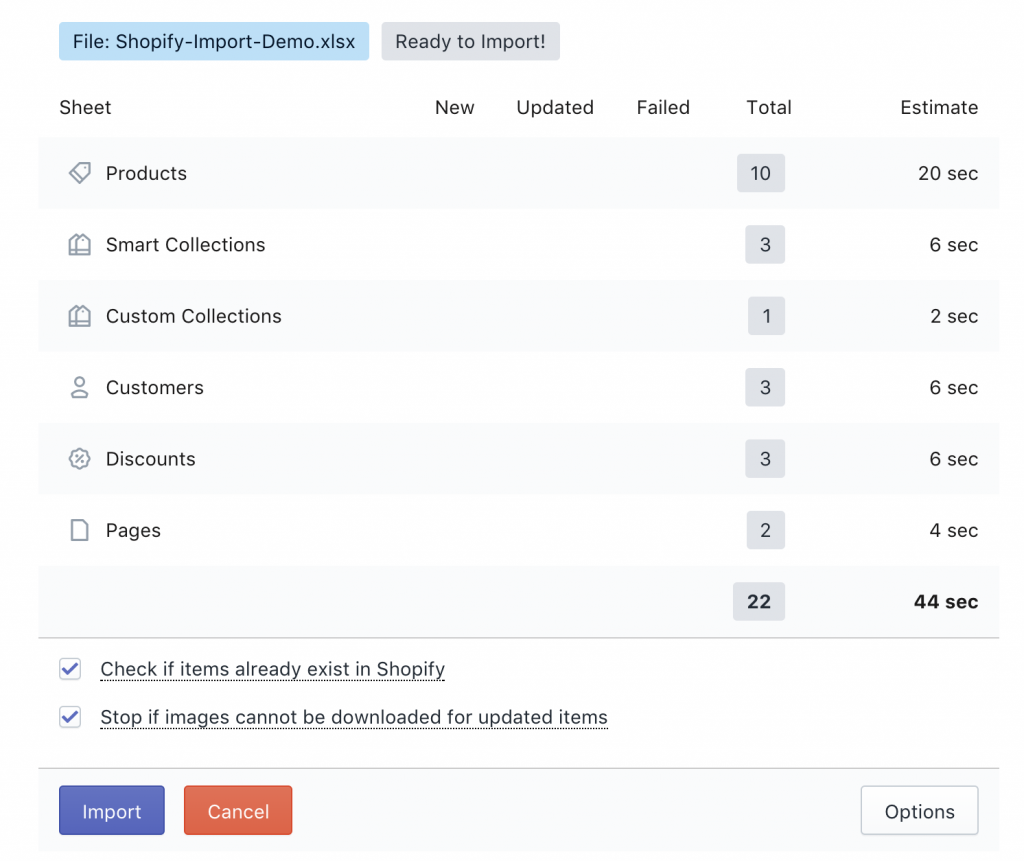 Force not to check if items already exist in Shopify store