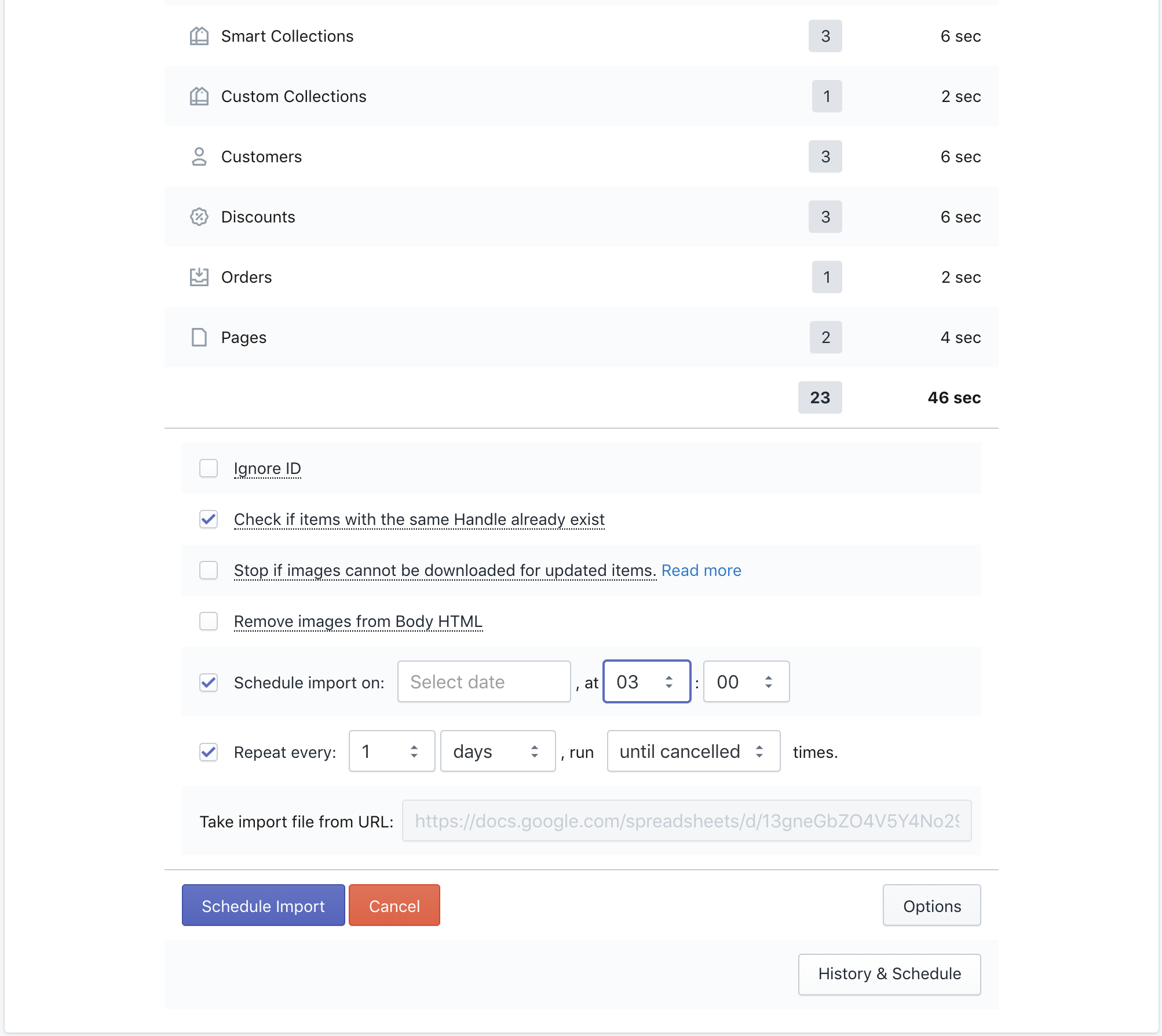Schedule import to Shopify from Google Sheets - Excelify App