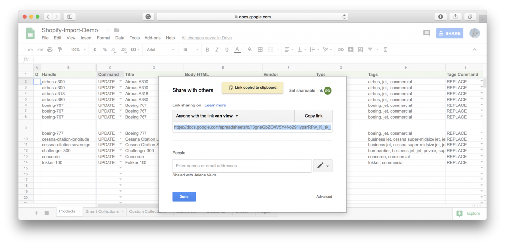 Google Sheet to Shopify import - share the sheet as view only