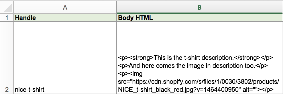Import Columns with just Shopify Body HTML description with images