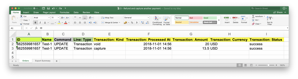 Import Excel table of transaction void and capture to Shopify