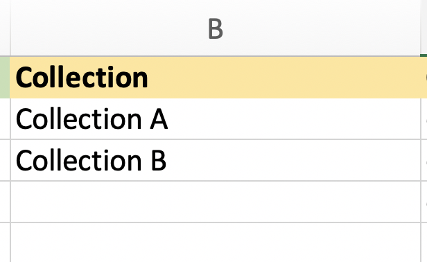 Import Shopify Product with Collection column
