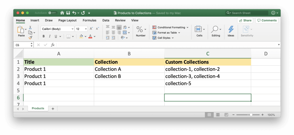 Import Shopify Products to several Collections at once