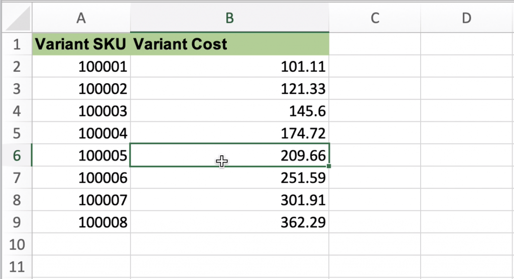 Import Variant Cost to Shopify - update by SKU