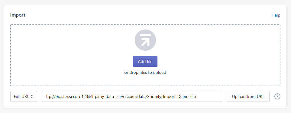 Import to Shopify from FTP server full url