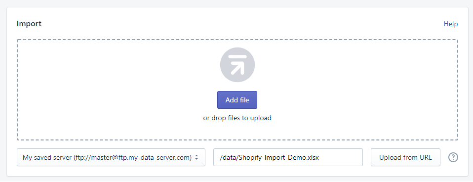 Import to Shopify from FTP server