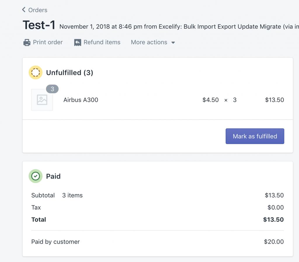 Imported Shopify Order capture transaction