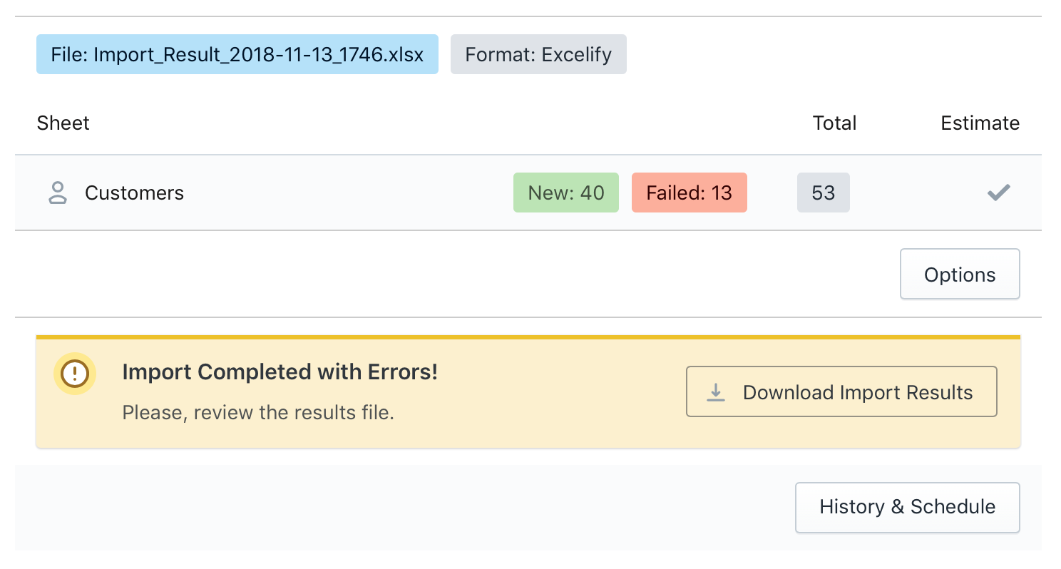 Magento Customers Import Result File