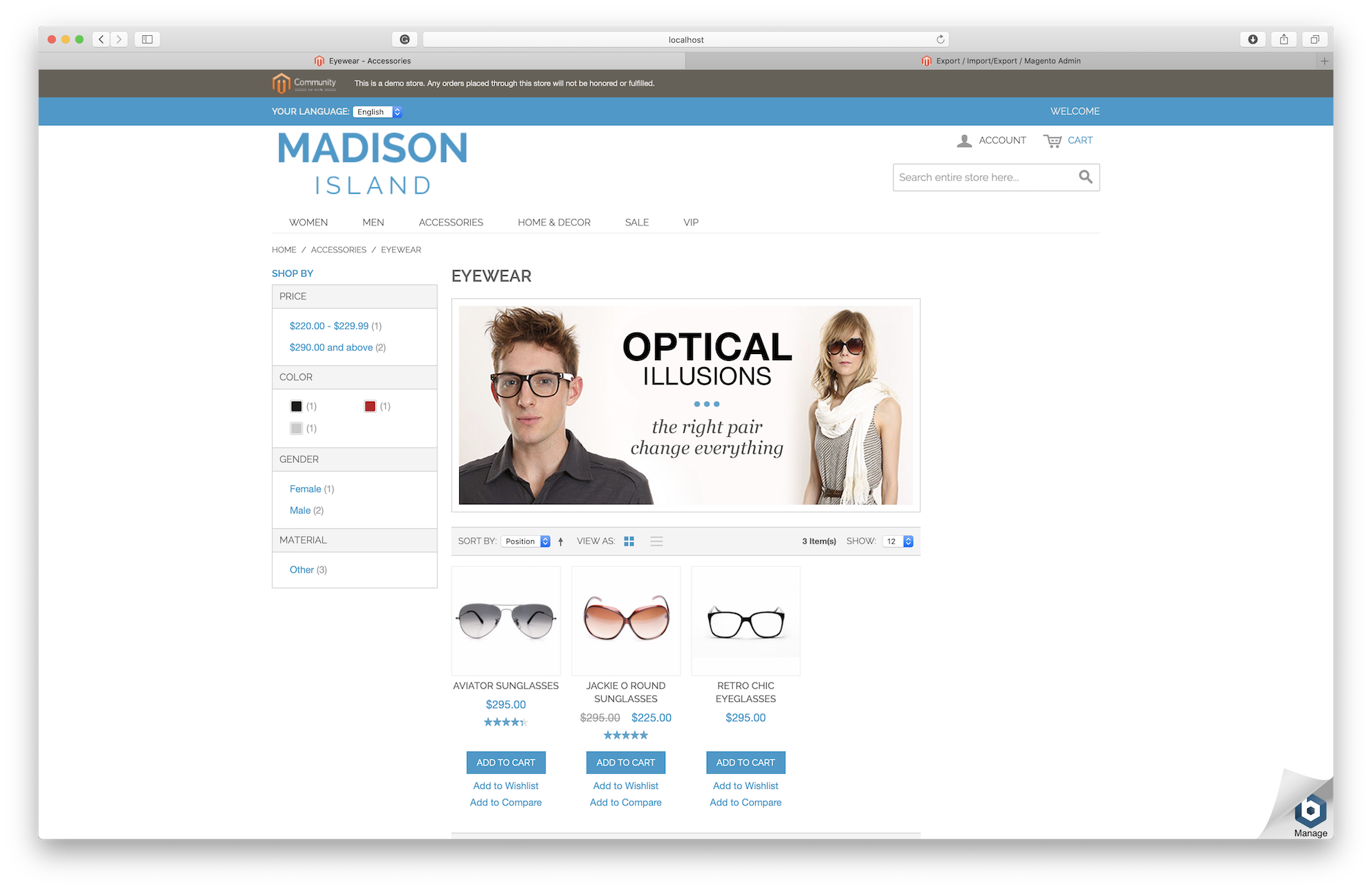 Magento store sample to migrate to Shopify