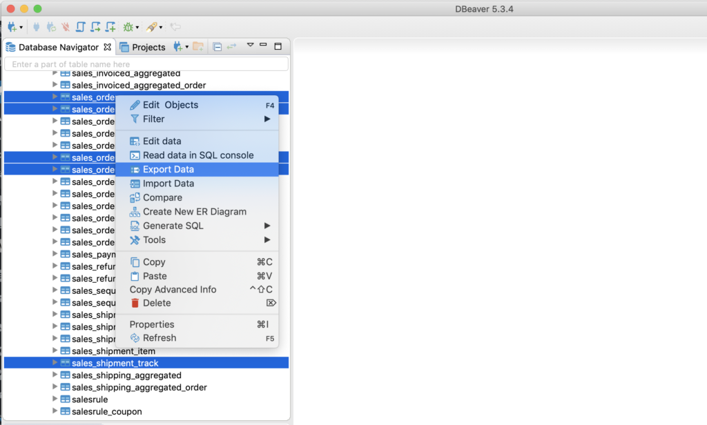 Migrate Magento to Shopify - 1.3.2. Select tables, right-click and select the Export Data