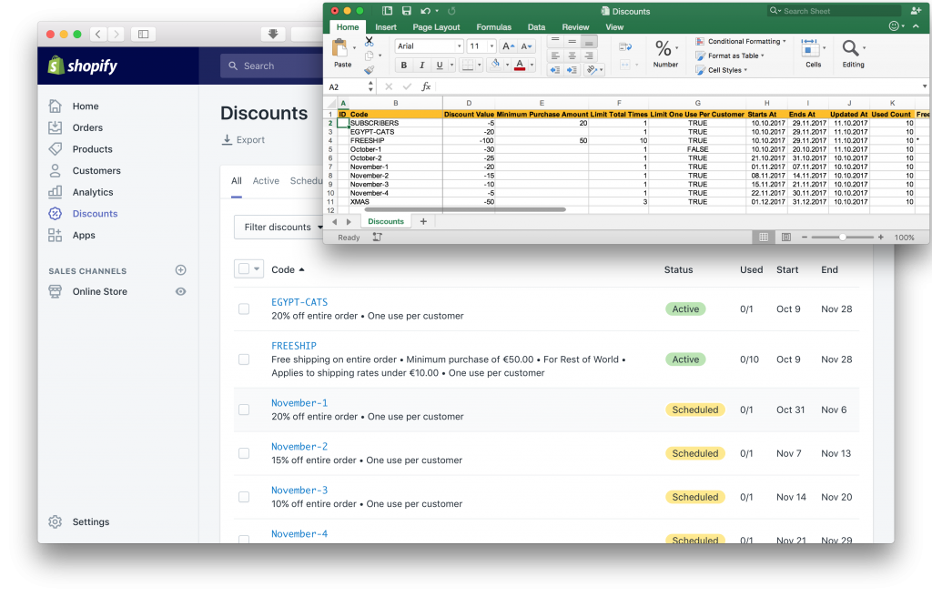 Shopify Discounts Export and Import Excel Sheet