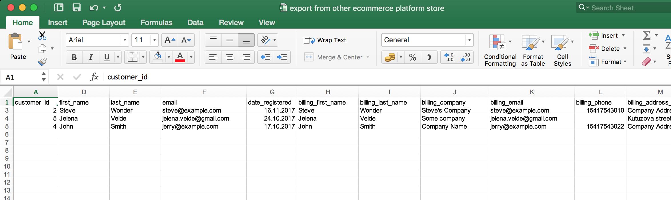 Customers' export