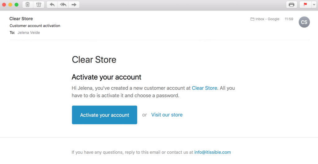 Activation emails