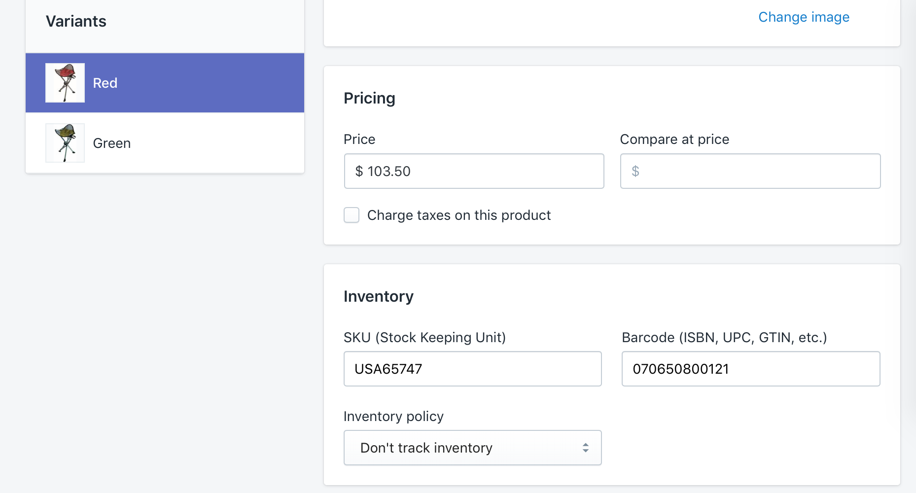 Product SKU and Barcode