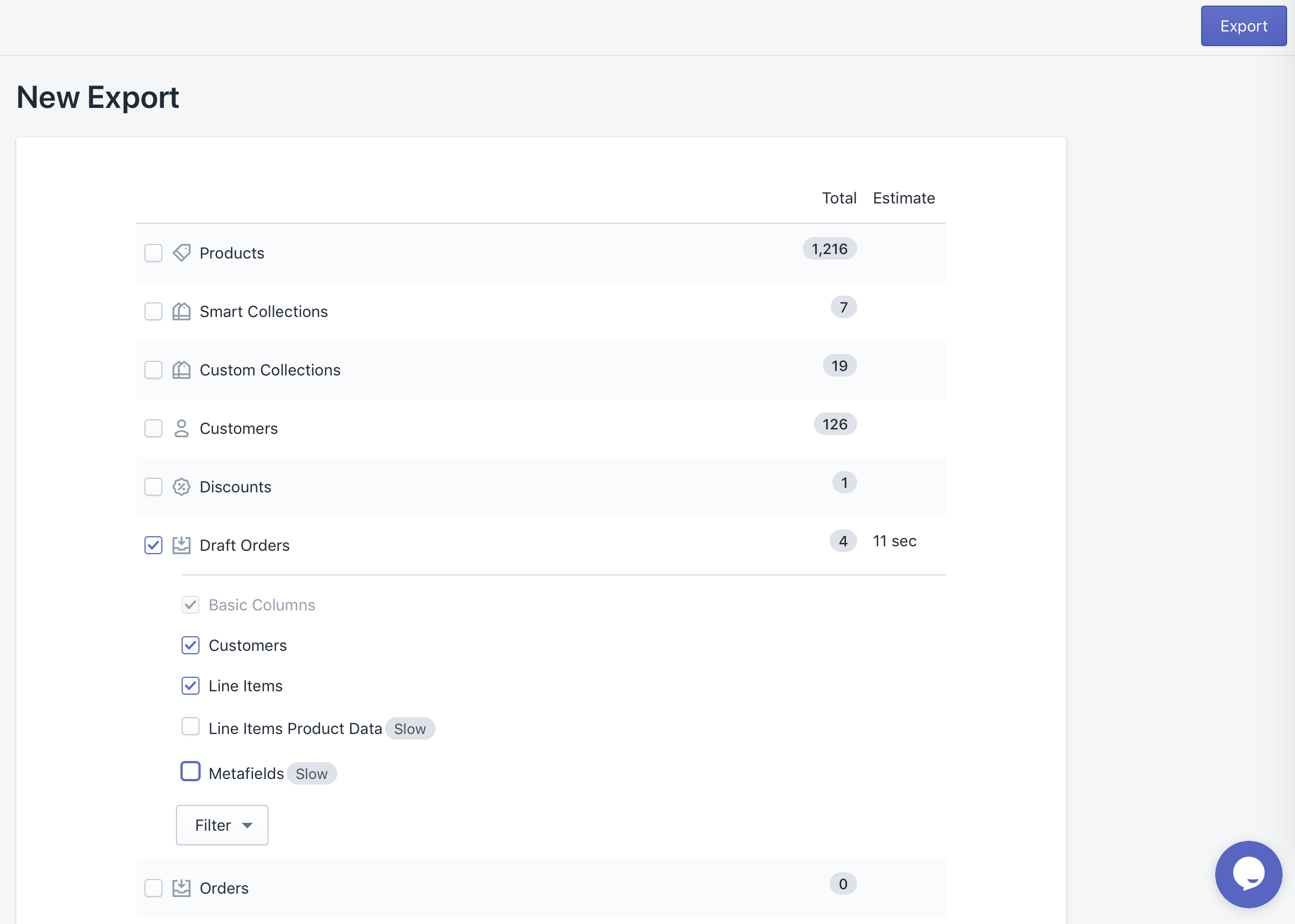 Export of Shopify Draft Orders