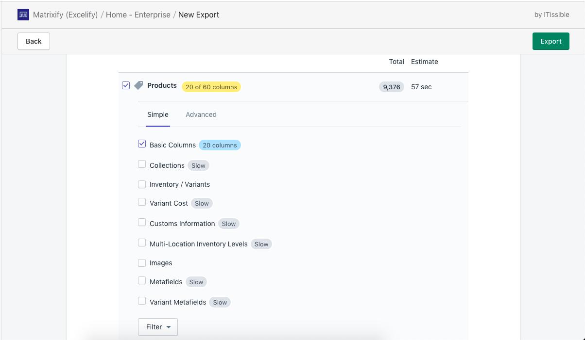Product Export Basic columns