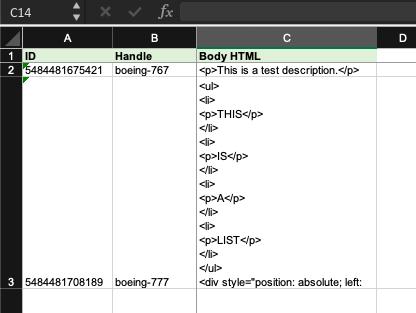 Body HTML update