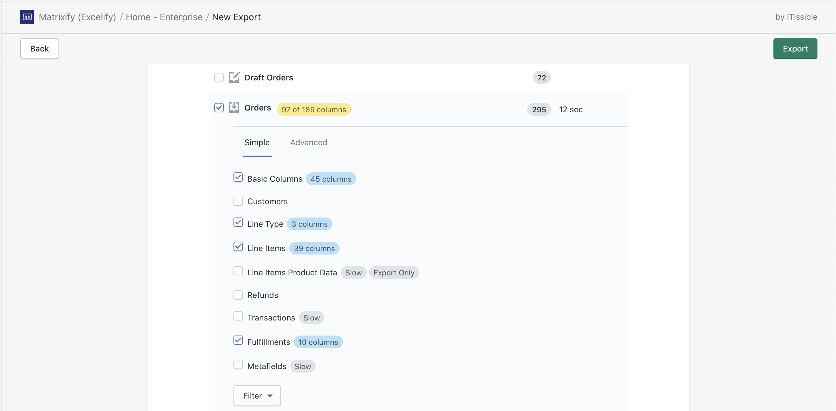 Order Export with on or after filter
