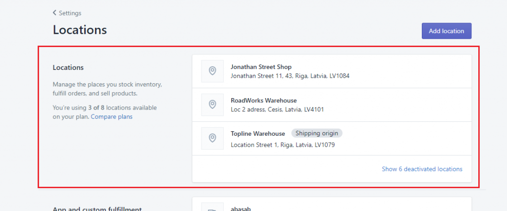 Select shopify options locations