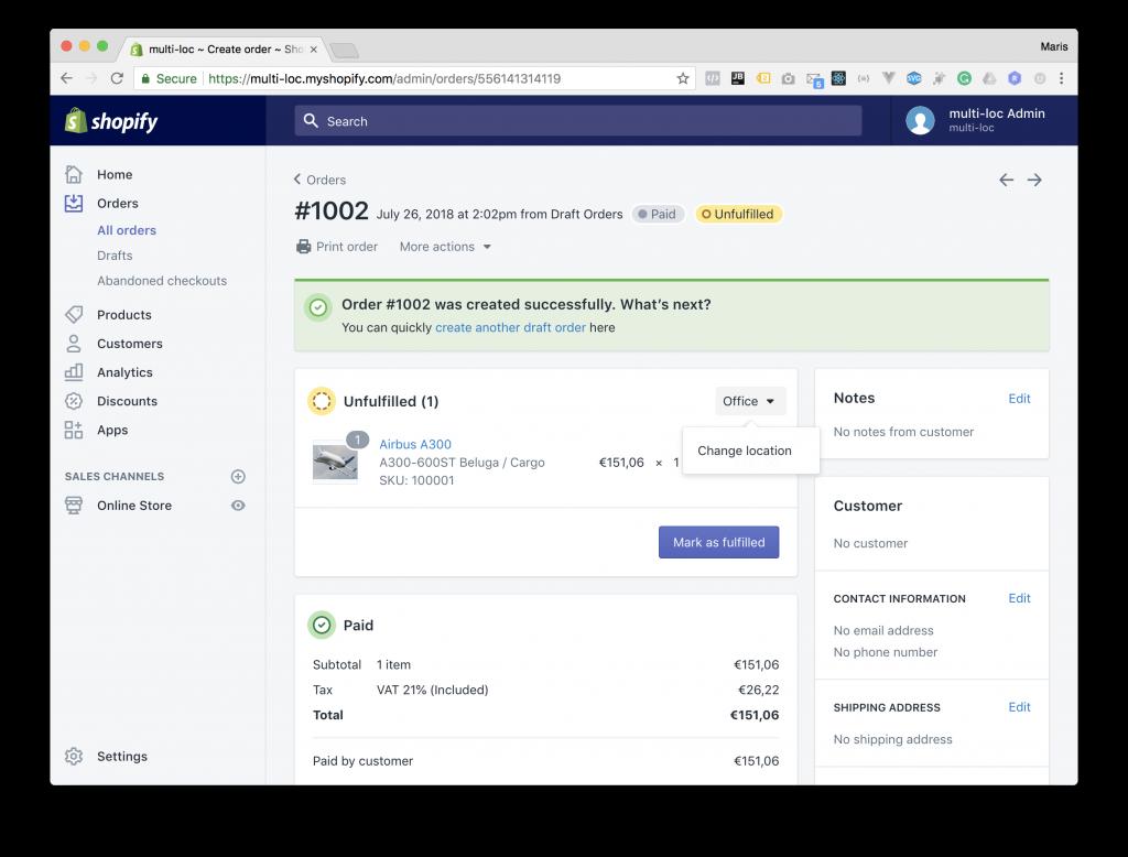 Shopify Admin - Orders Fulfillment Location