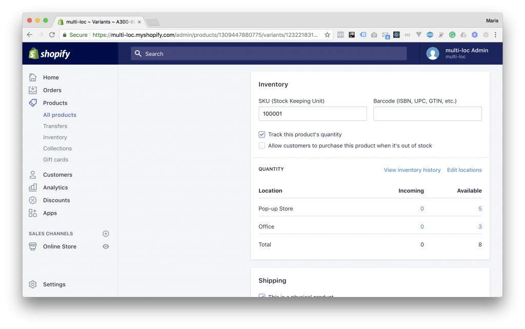 Shopify Admin - Product Variant Locations