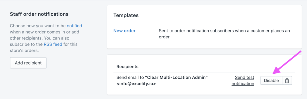 Shopify Admin - disable the Staff order notifications when importing from Magento