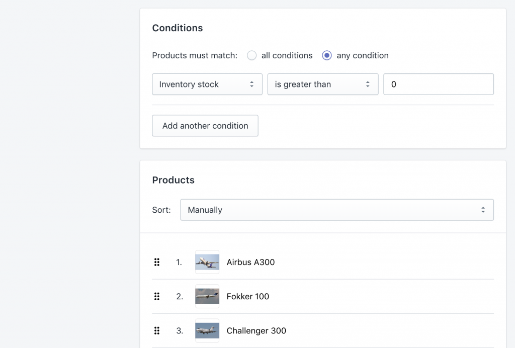 Shopify Automated Collection with Products for Exporting