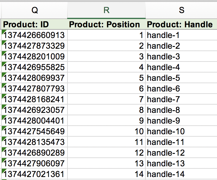 Shopify Custom Collection products and their Handles