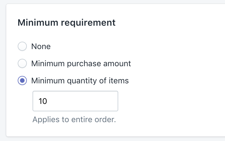 Shopify Discount - minimum quantity of items
