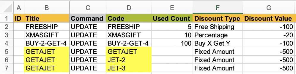 Shopify Discount with several codes - to import from Excelify
