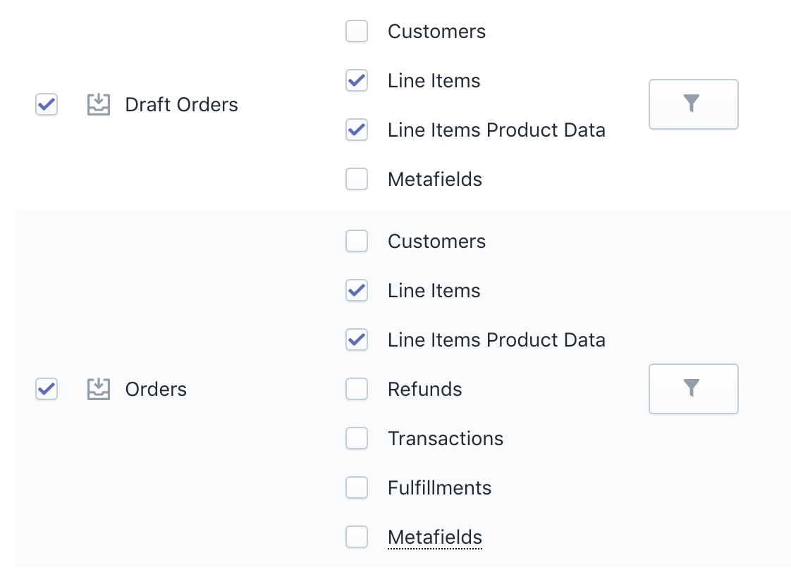 Shopify Export Orders with LIne Items Product Data