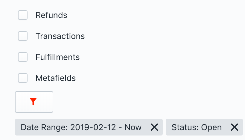Shopify Export filters combined