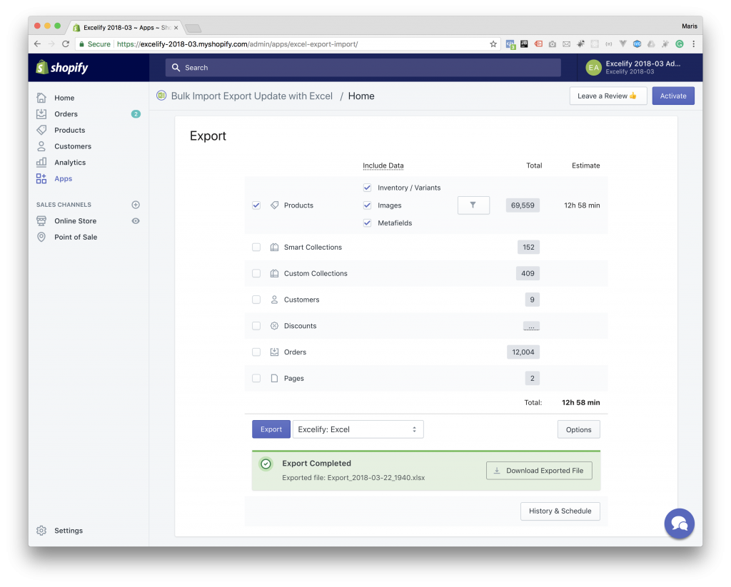 Shopify Export with Excelify