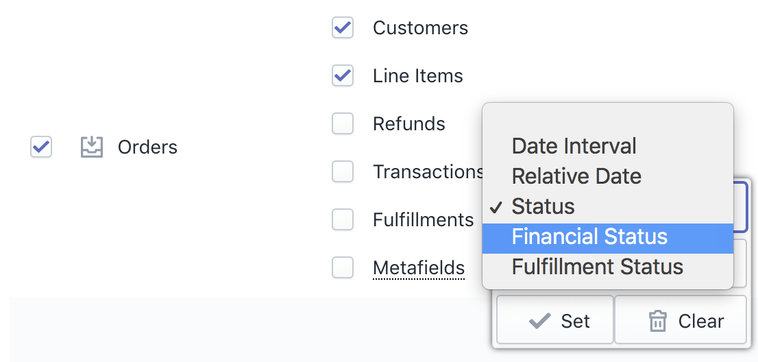 Shopify Orders Export Filter by status