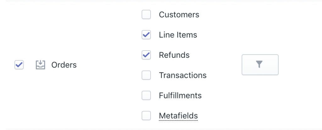 Shopify Orders bulk refund export