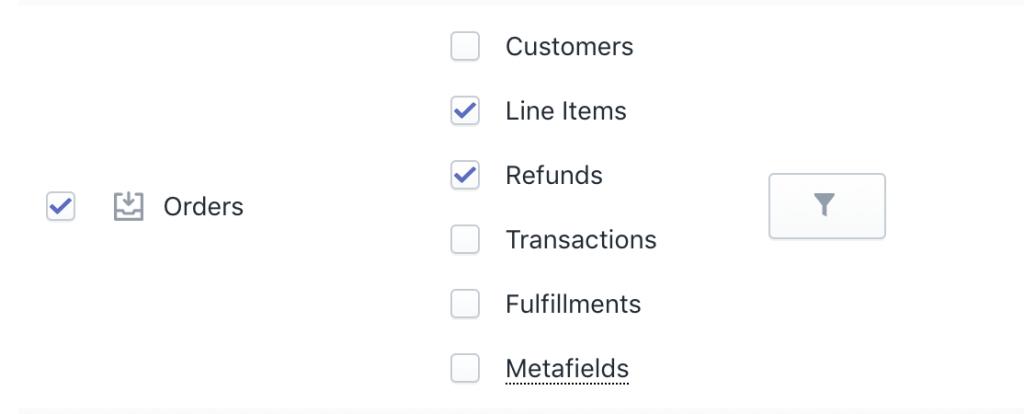 Shopify Orders bulk refund export