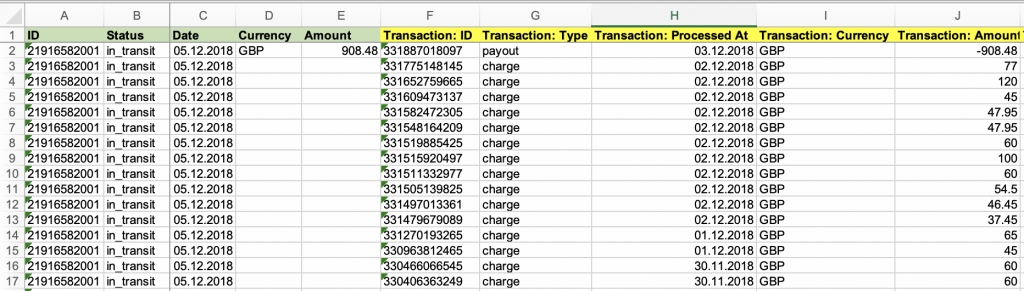 Shopify Payouts Export to Excel or CSV