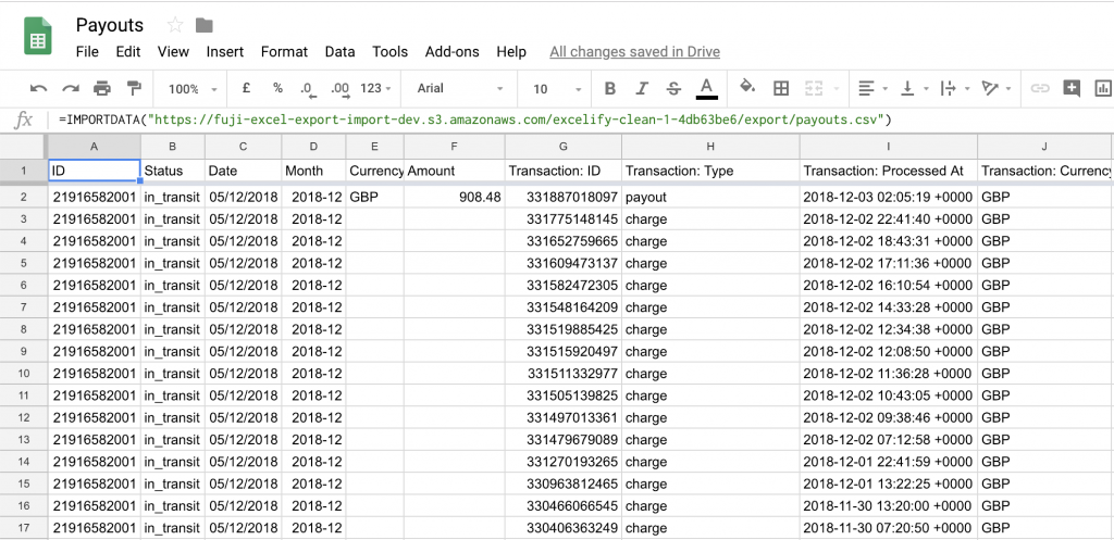 Shopify Payouts exported to Google Sheets