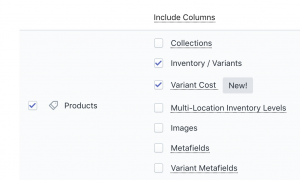 Shopify Product Variant Cost export