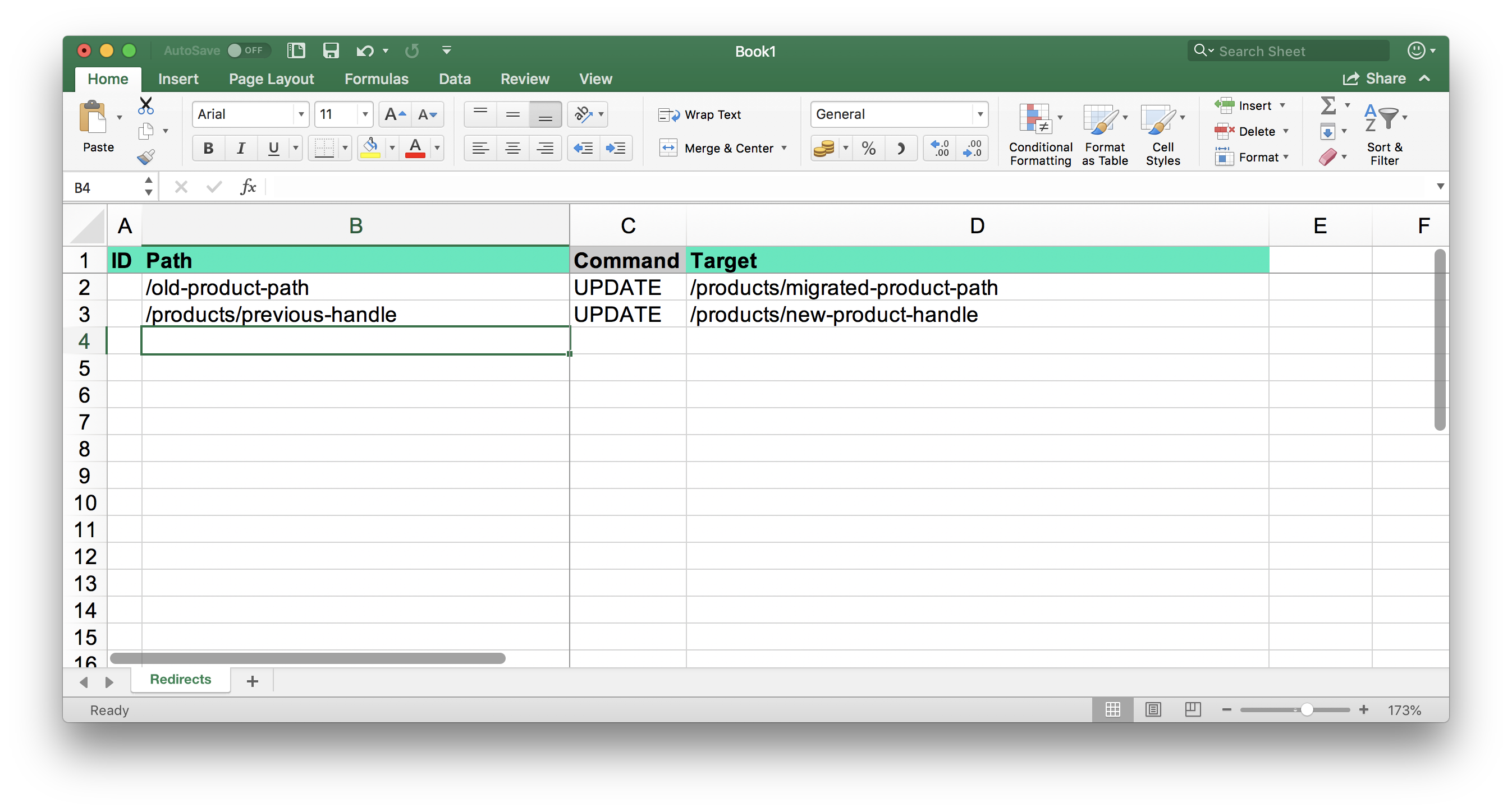 Shopify Redirects from Excel table