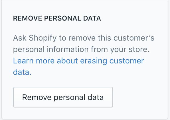 Shopify Remove Customer Personal Data