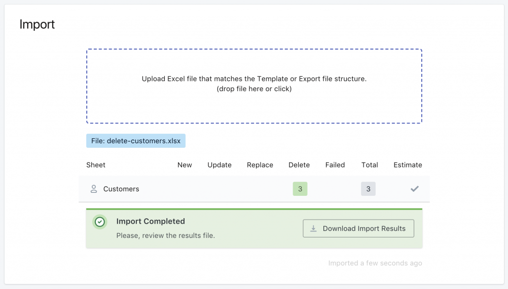 Shopify bulk delete customers result