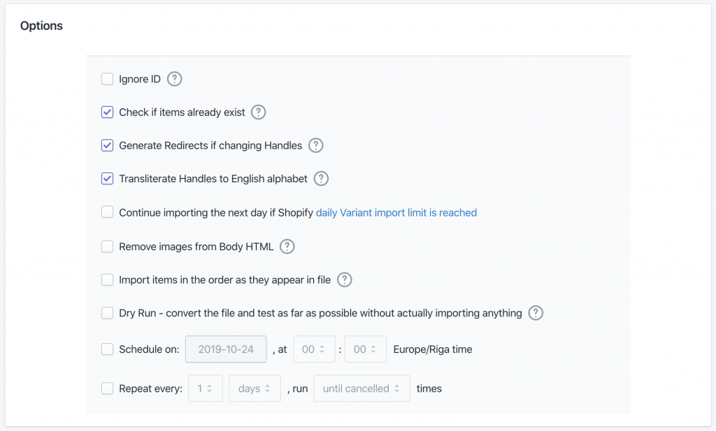 Shopify data import advanced options