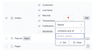 Shopify export Orders - filter by Names