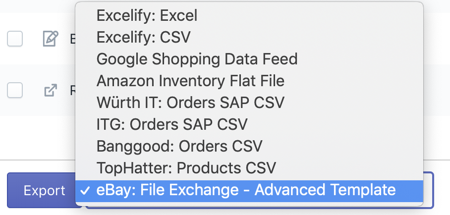 Shopify export to eBay - choose eBay File Exchange - Advanced Template