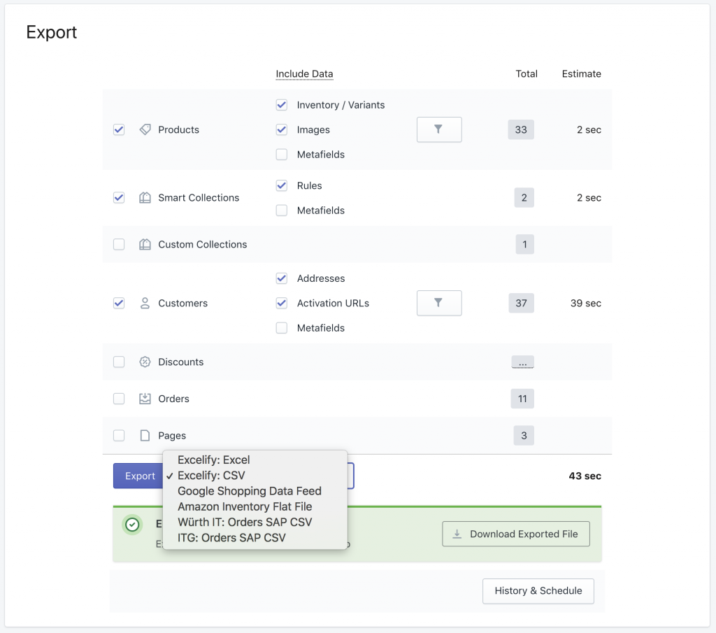 Shopify export very large store to CSV file